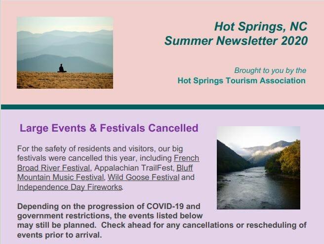 Hot Springs NC Summer 2020 Newsletter